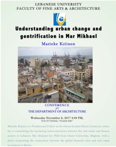 A poster announcing the lecture at the Lebanese University.